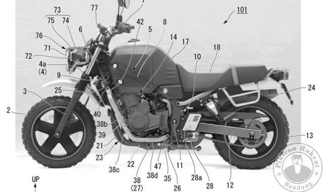Honda telah mendaftarkan hak paten dari desain versi produksi massal dari motor konsep Honda Bulldog.*/VISORDOWN.COM/PR