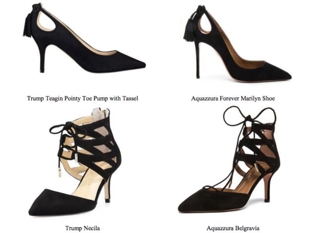 Comparison between Ivanka Trump and Aquazzura Design